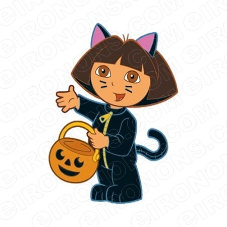 DORA THE EXPLORER TRICK OR TREATING CHARACTER T-SHIRT IRON-ON TRANSFER DECAL #CDTE5