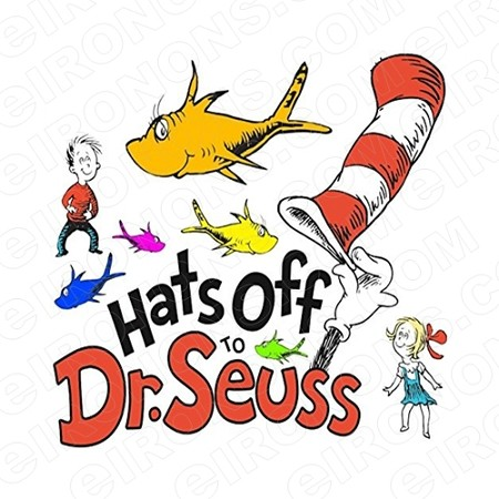DR SEUSS HATS OFF CHARACTER T-SHIRT IRON-ON TRANSFER DECAL #CDS18