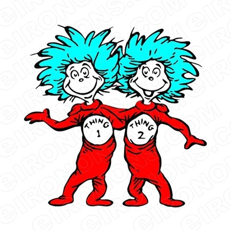 DR SEUSS THING 1 AND THING 2 CHARACTER T-SHIRT IRON-ON TRANSFER DECAL #CDS15