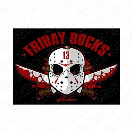 FRIDAY THE 13TH ROCKS LOGO MOVIE T-SHIRT IRON-ON TRANSFER DECAL #JVH8