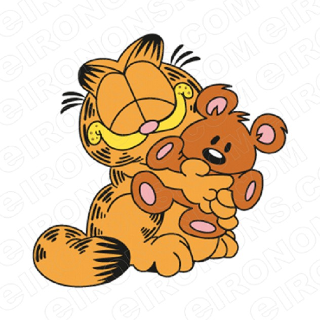 GARFIELD WITH TEDDY CHARACTER T-SHIRT IRON-ON TRANSFER DECAL #CGF10