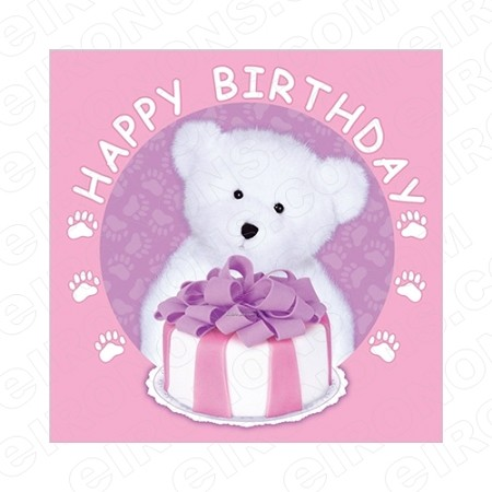 HAPPY BIRTHDAY BEAR PINK GIRL SAYINGS T-SHIRT IRON-ON TRANSFER DECAL #BS21