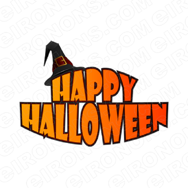 HAPPY HALLOWEEN LOGO T-SHIRT IRON-ON TRANSFER DECAL #HH5