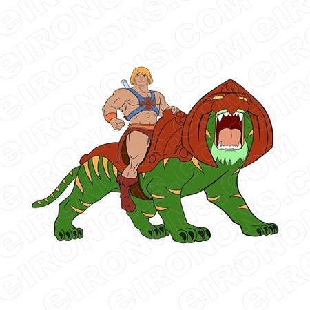 HE-MAN SITTING ON BATTLE CAT COMIC T-SHIRT IRON-ON TRANSFER DECAL #CHM9