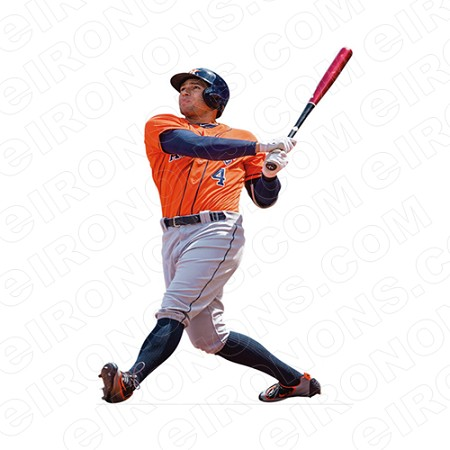 HOUSTON ASTROS GEORGE SPRINGER BATTING SPORTS MLB BASEBALL T-SHIRT IRON-ON TRANSFER DECAL #HA18