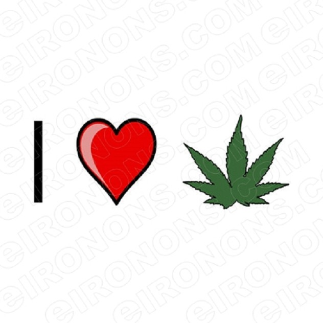 I LOVE WEED T-SHIRT IRON-ON TRANSFER DECAL #IL17