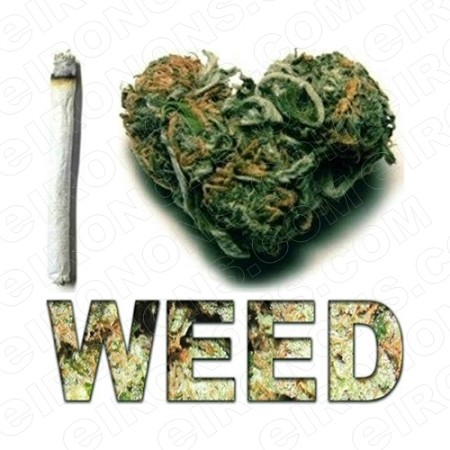I LOVE WEED T-SHIRT IRON-ON TRANSFER DECAL #IL18