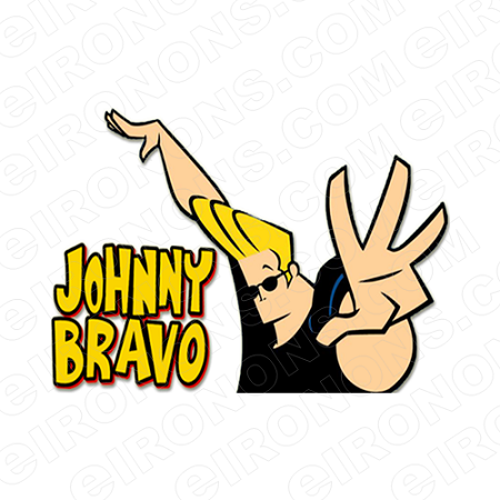 JOHNNY BRAVO AND LOGO CHARACTER T-SHIRT IRON-ON TRANSFER DECAL #CJB1