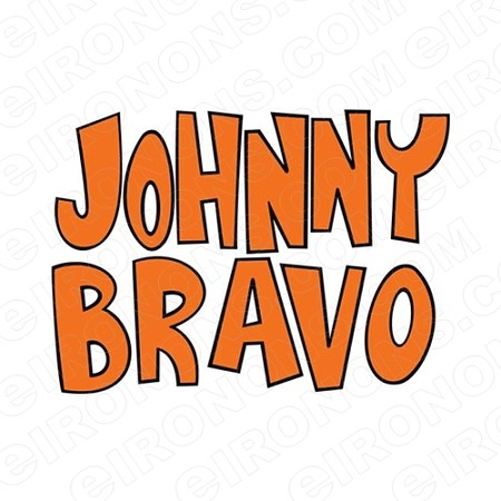 JOHNNY BRAVO LOGO ORANGE CHARACTER T-SHIRT IRON-ON TRANSFER DECAL #CJB5
