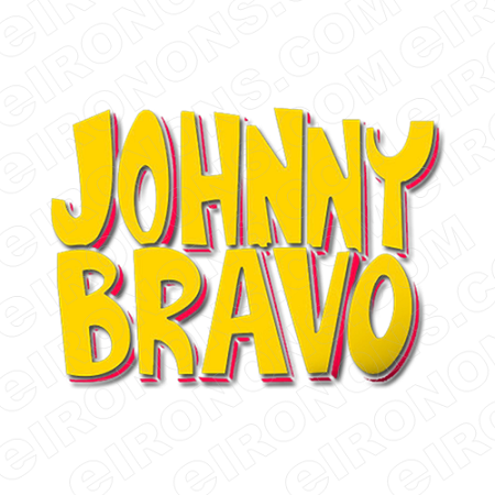 JOHNNY BRAVO LOGO YELLOW ORANGE CHARACTER T-SHIRT IRON-ON TRANSFER DECAL #CJB6