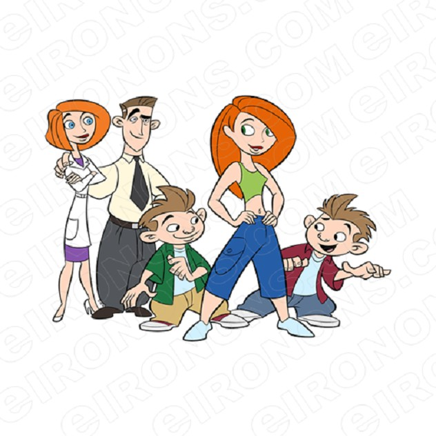 KIM POSSIBLE GROUP POSE 1 CHARACTER T-SHIRT IRON-ON TRANSFER DECAL #CKP6