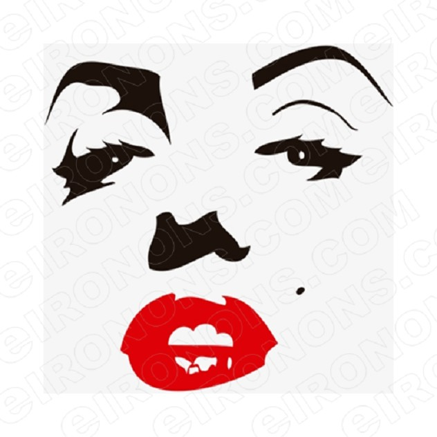 MARILYN MONROE FACE RED LIPS TV T-SHIRT IRON-ON TRANSFER DECAL #TVMMR1