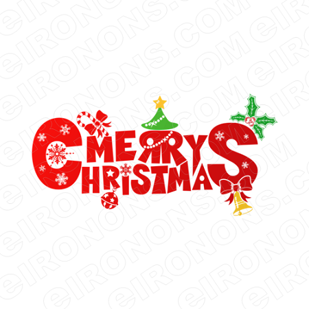 MERRY CHRISTMAS HOLIDAY T-SHIRT IRON-ON TRANSFER DECAL #HC3