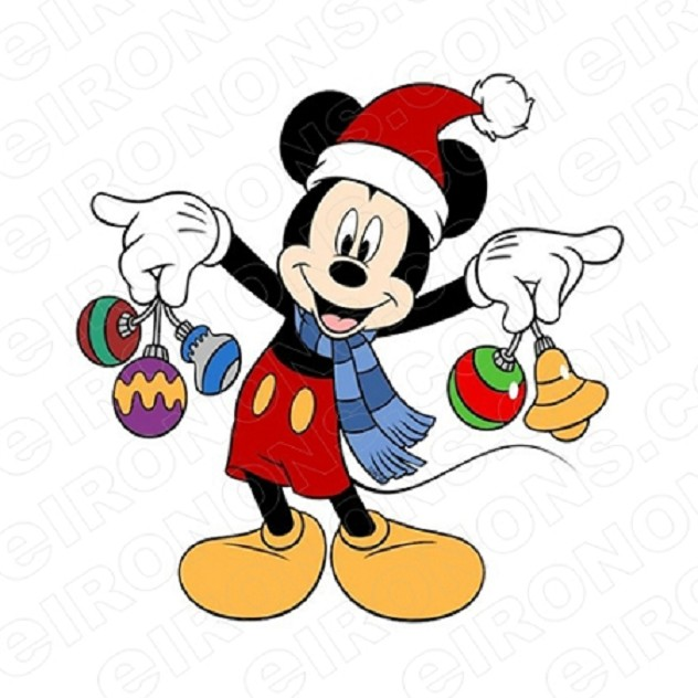 MICKEY MOUSE HOLDING CHRISTMAS ORNAMENTS HOLIDAY T-SHIRT IRON-ON TRANSFER DECAL #HC22