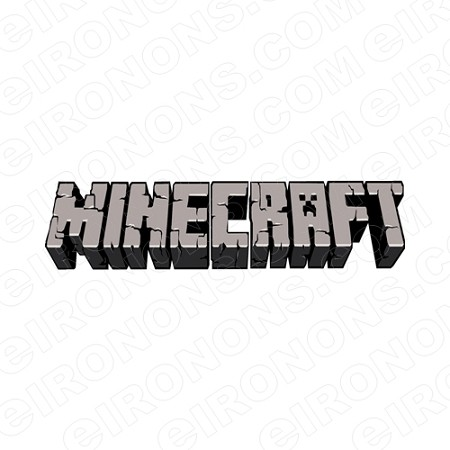 MINECRAFT LOGO GRAY VIDEO GAME T-SHIRT IRON-ON TRANSFER DECAL #VMC4