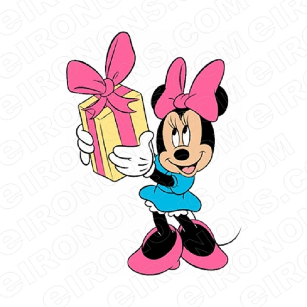 MINNIE MOUSE HOLDING PRESENT CHARACTER T-SHIRT IRON-ON TRANSFER DECAL #CMM5