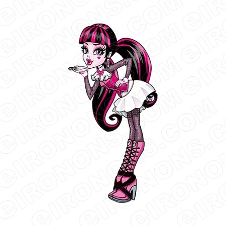 MONSTER HIGH DRACULAURA BLOW A KISS CHARACTER T-SHIRT IRON-ON TRANSFER DECAL #CMH3