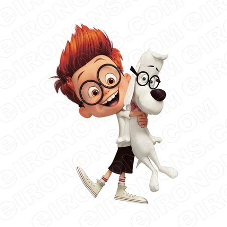 MR PEABODY & SHERMAN HUGGING MR PEABODY CHARACTER T-SHIRT IRON-ON TRANSFER DECAL #CMPAS4