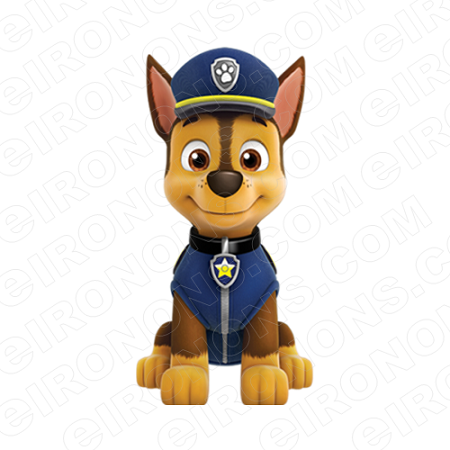 PAW PATROL CHASE FRONT VIEW CHARACTER T-SHIRT IRON-ON TRANSFER DECAL #CPP5