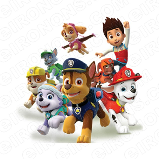 PAW PATROL GROUP POSE CHARACTER T-SHIRT IRON-ON TRANSFER DECAL #CPP6