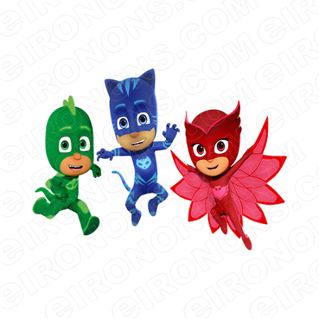 PJ MASKS GROUP POSE 2 CHARACTER T-SHIRT IRON-ON TRANSFER DECAL #CPJM8