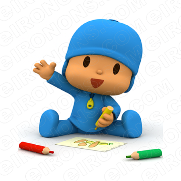 POCOYO COLORING CHARACTER T-SHIRT IRON-ON TRANSFER DECAL #CP3