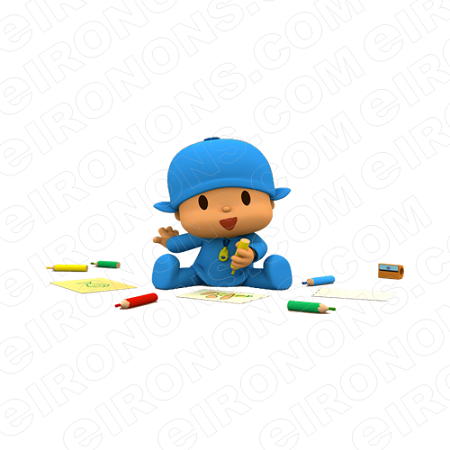 POCOYO COLORING CHARACTER T-SHIRT IRON-ON TRANSFER DECAL #CP4