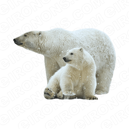 POLAR BEAR AND BABY ANIMAL BEAR T-SHIRT IRON-ON TRANSFER DECAL #APB1