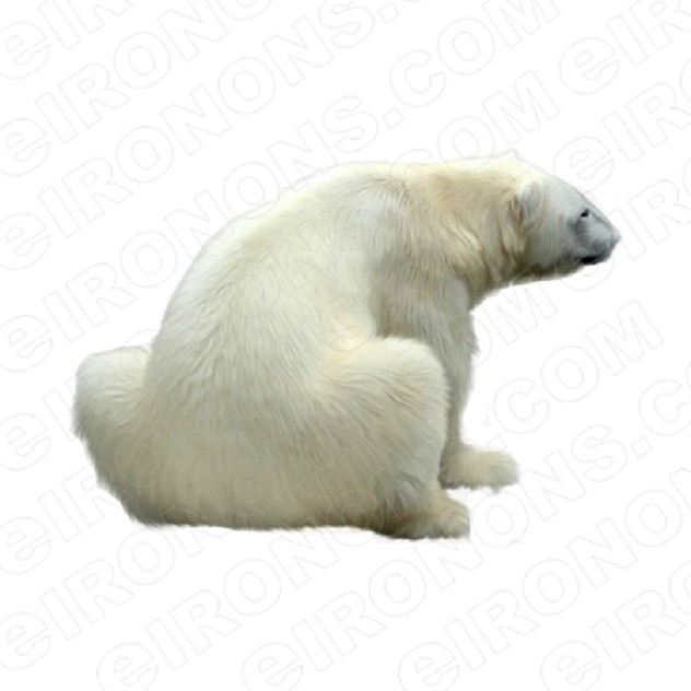 POLAR BEAR BACK VIEW ANIMAL BEAR T-SHIRT IRON-ON TRANSFER DECAL #APB2