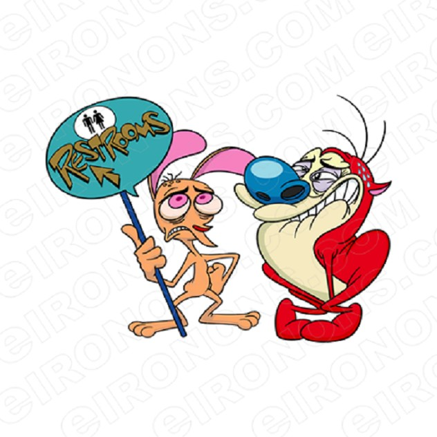 REN & STIMPY RESTROOMS CHARACTER T-SHIRT IRON-ON TRANSFER DECAL #CRAS10
