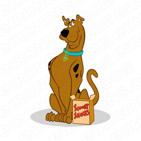 SCOOBY-DOO SITTING WITH SNACKS CHARACTER T-SHIRT IRON-ON TRANSFER DECAL #CSD8