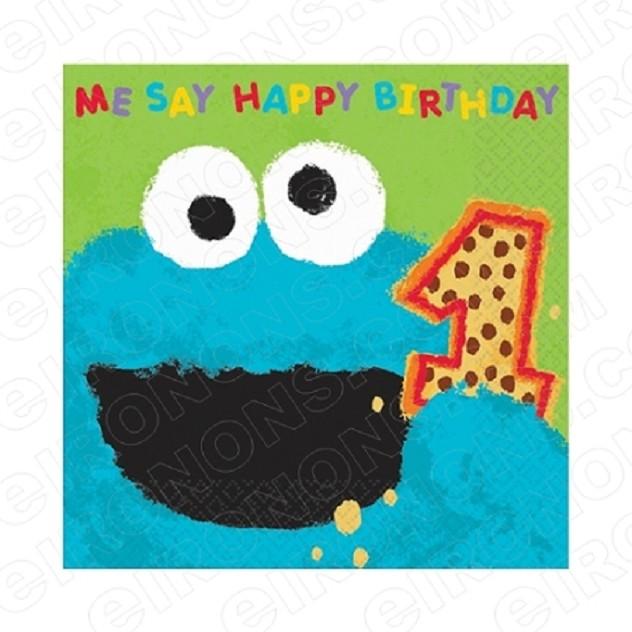 SESAME STREET COOKIE MONSTER ME SAY HAPPY 1ST BIRTHDAY T-SHIRT IRON-ON TRANSFER DECAL #FBSS3