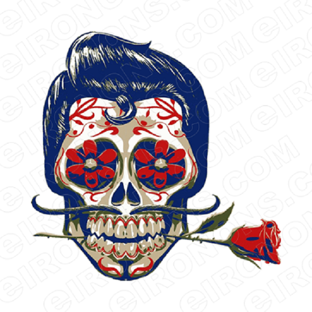 SKULL FANCY T-SHIRT IRON-ON TRANSFER DECAL #S7