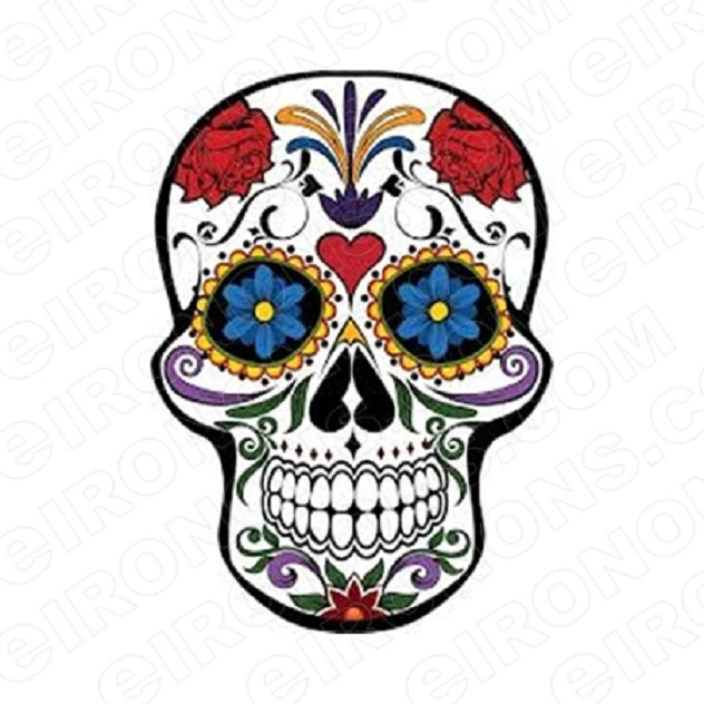 SKULL FLORAL T-SHIRT IRON-ON TRANSFER DECAL #S11