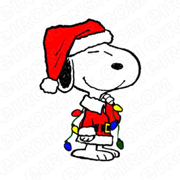 SNOOPY HOLDING CHRISTMAS LIGHTS HOLIDAY T-SHIRT IRON-ON TRANSFER DECAL #HC23
