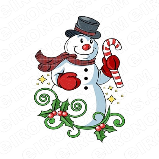 SNOWMAN WITH CANDY CANE CHRISTMAS HOLIDAY T-SHIRT IRON-ON TRANSFER DECAL #HC6
