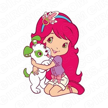 STRAWBERRY SHORTCAKE HUGGING PUPPY CHARACTER T-SHIRT IRON-ON TRANSFER DECAL #CSBSC13