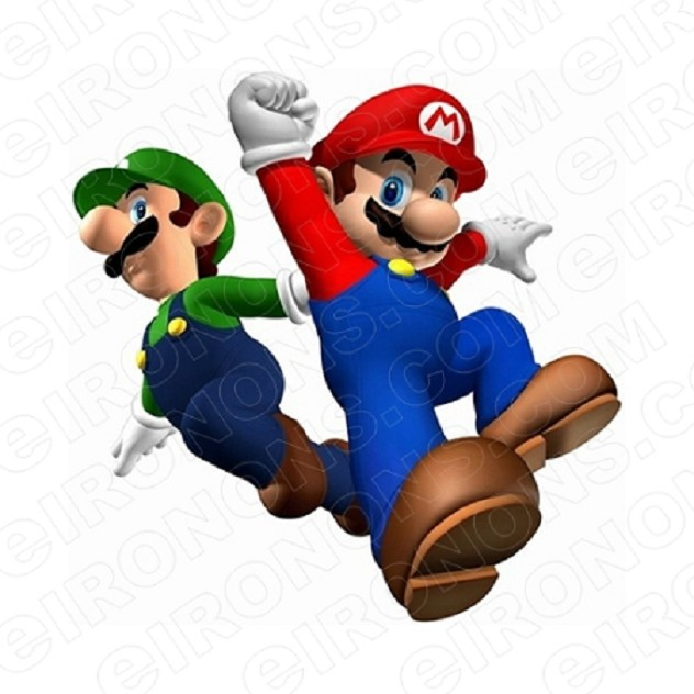 SUPER MARIO AND LUIGI JUMPING VIDEO GAME T-SHIRT IRON-ON TRANSFER DECAL #VGSM5