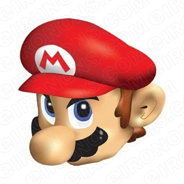 SUPER MARIO BIG HEAD VIDEO GAME T-SHIRT IRON-ON TRANSFER DECAL #VGSM8