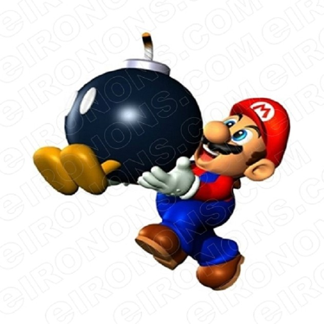 SUPER MARIO BOMB VIDEO GAME T-SHIRT IRON-ON TRANSFER DECAL #VGSM10