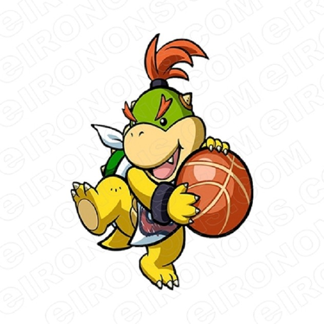 SUPER MARIO BOWSER JR WITH BASKET BALL VIDEO GAME T-SHIRT IRON-ON TRANSFER DECAL #VGSM16