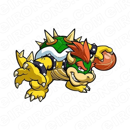 SUPER MARIO BOWSER WITH BASKET BALL VIDEO GAME T-SHIRT IRON-ON TRANSFER DECAL #VGSM18