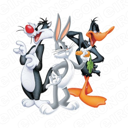 SYLVESTER THE CAT BUGS BUNNY AND DAFFY DUCK CHARACTER T-SHIRT IRON-ON TRANSFER DECAL #CSTC1