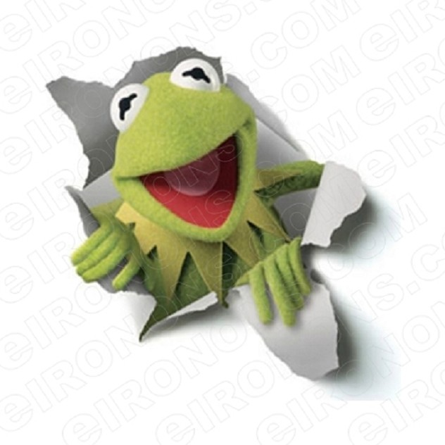 THE MUPPETS KERMIT THE FROG BREAKING THROUGH TV T-SHIRT IRON-ON TRANSFER DECAL #TVTM10