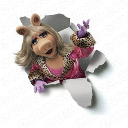 THE MUPPETS MISS PIGGY BREAKING THROUGH TV T-SHIRT IRON-ON TRANSFER DECAL #TVTM18