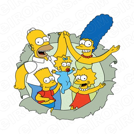 THE SIMPSONS GROUP POSE 5 CHARACTER T-SHIRT IRON-ON TRANSFER DECAL #CTS12