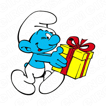 THE SMURFS JOKEY SMURF HOLDING PRESENT CHARACTER T-SHIRT IRON-ON TRANSFER DECAL #CTS8