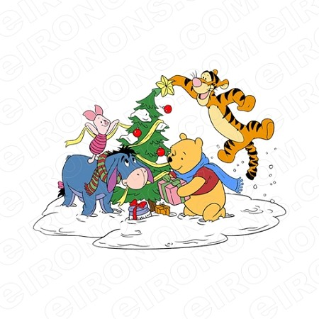 WINNIE THE POOH AND FRIENDS DECORATING CHRISTMAS TREE HOLIDAY T-SHIRT IRON-ON TRANSFER DECAL #HC33