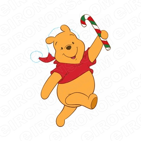 WINNIE THE POOH HOLDING A CANDY CANE CHRISTMAS HOLIDAY T-SHIRT IRON-ON TRANSFER DECAL #HC31