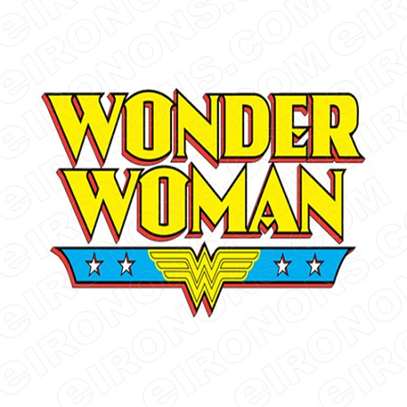 WONDER WOMAN LOGO RED, YELLOW AND BLUE COMIC T-SHIRT IRON-ON TRANSFER DECAL #CWW2